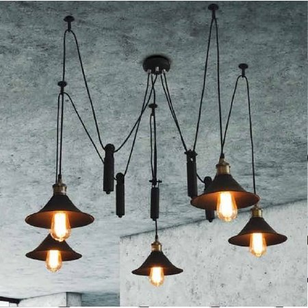 Luminaire suspendu vintage noir 1200mm Ø E27x5