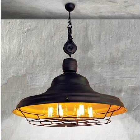 Hanglamp roestbruin geel E27 industrie rond rooster 970mm