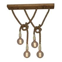 Luminaire suspendu vintage corde beige bois E27x4