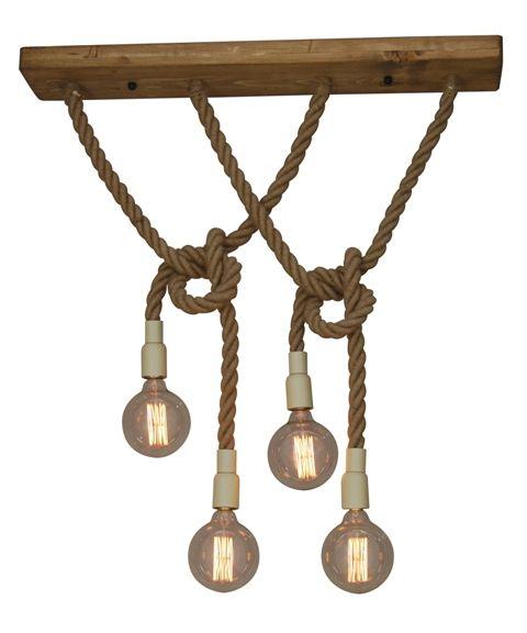 Hanglamp Met Touw.Hanglamp Boven Tafel Touw Hout E27x4 900x150mm