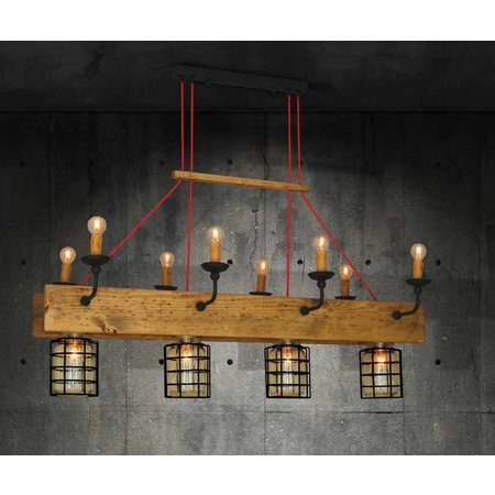 Pendant light chandelier wood, glass vintage 4xE27 + 8xE14