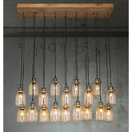 Pendant light glass industrial wood E27x18 1300mm