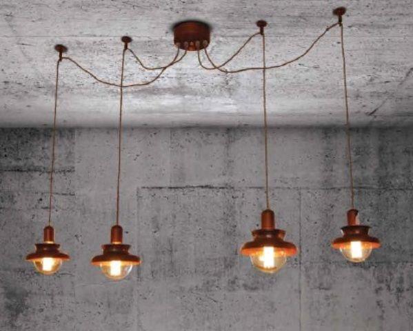 Industriele Lamp Boven Ronde Tafel.Hanglamp Boven Tafel Industrieel Koper 1500mm O E27x4