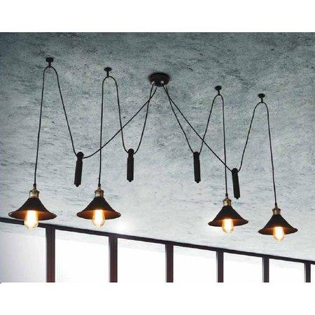 Hanglamp zwart koper industrieel 1500mm Ø E27x4