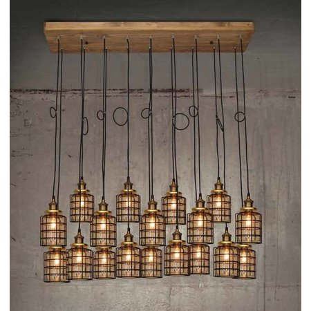 Hanglamp woonkamer hout glas gril vintage E27x18 1300mm