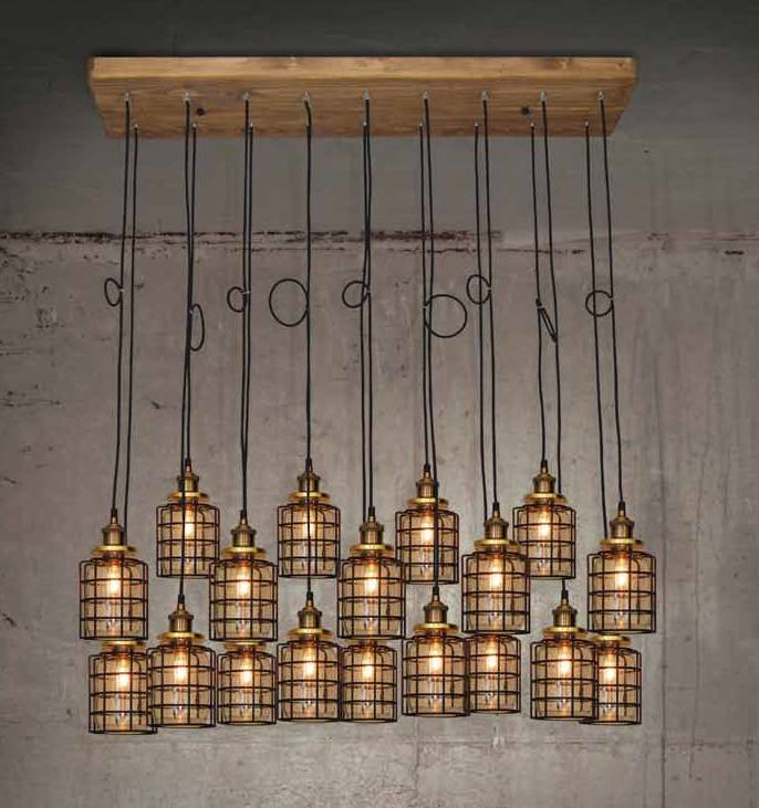 Populair Hanglamp woonkamer hout glas gril vintage E27x18 1300mm | Myplanetled #QC56