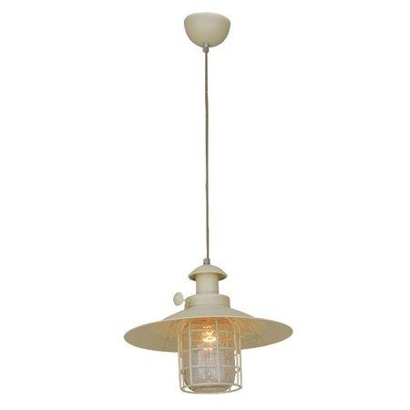 Hanglamp kap industreel beige glas kooi E27 340mm Ø