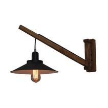 Wandlamp hout vintage 310mm diameter E27 zwart met kap