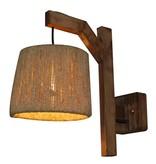 Wall light E27 wood vintage 210mm diameter cord shade