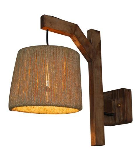 Wandlamp Met Kap.Wandlamp Hout Vintage 210mm Diameter E27 Koord Kap