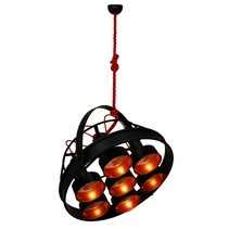 Pendant light black copper E27x7 industrial 700mm Ø