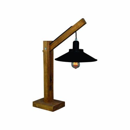 Lampe de table industrielle bois 700mm haut E27 310mm Ø