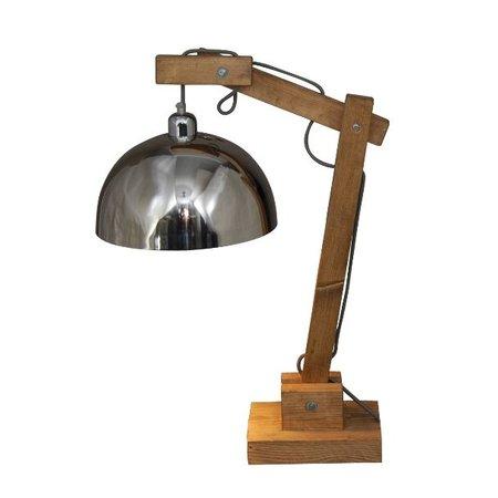 Tafellamp industrieel chroom hout 780mm H E27