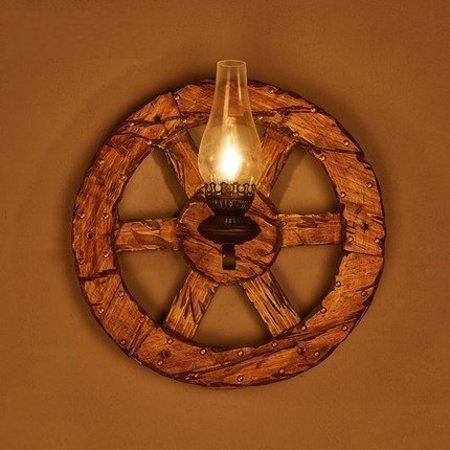 Wall light sconce industrial wheel wood torch 580mm Ø