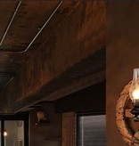Applique murale industrielle roue bois torche 580mm Ø