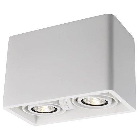 Plafonnier design pas cher GU10 rectangulaire plâtre 205x110mm