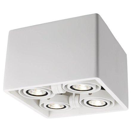 Plafondlamp wit gips vierkant design GU10x4 205x205mm