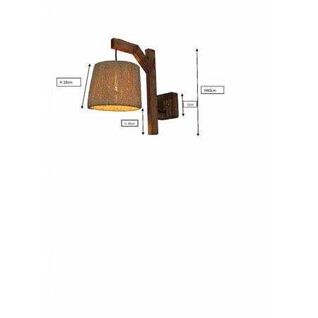 Applique murale industrielle bois 210mm diamètre E27