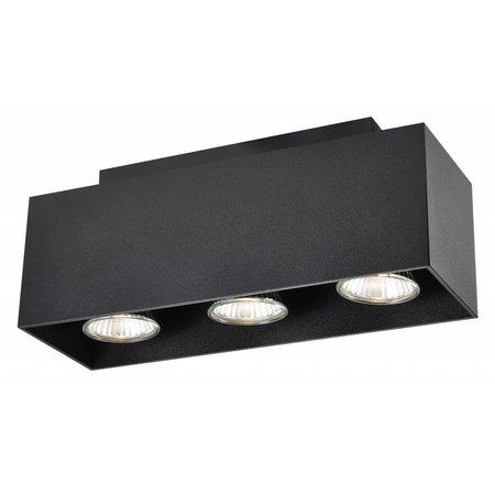 Plafondlamp rechthoek wit, bruin of zwart 3xGU10 270x90mm
