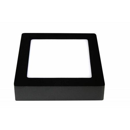 Plafondlamp vierkant led wit zwart 175x175mm 12W