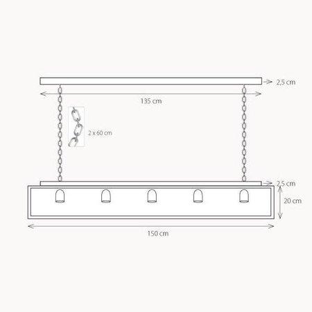 Luminaire suspendu rustique verre avec chaîne 150cm long