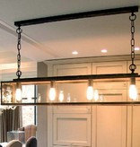 Rustic pendant light glass chain dining room 125cm E27x4