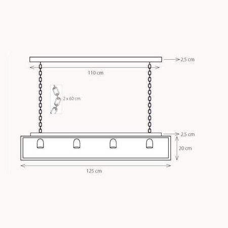Rustic pendant light glass chain dining room 125cm E27x4