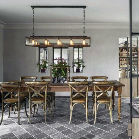 Rustic pendant light with chain dining room 150cm long