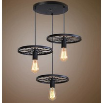 Industrial pendant light 3 wheels spokes E27x3 black or rust