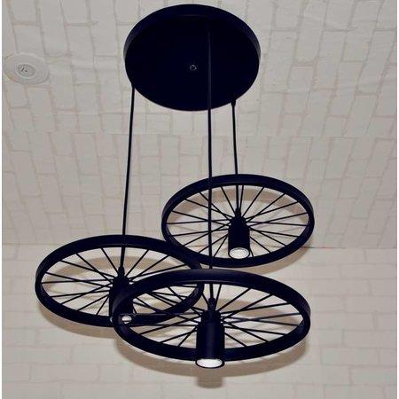 Luminaire suspendu vintage 3 roues rayons E27x 3 noir, rouille
