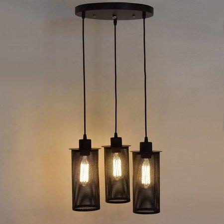 Industriële hanglamp met 3 zwarte lampenkappen van 25cm