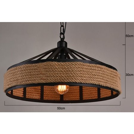 Industrial pendant light with rope 43cm diameter E27