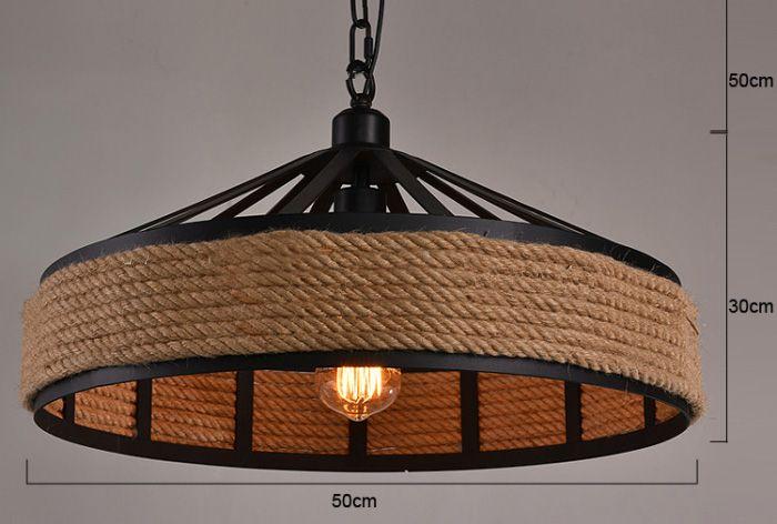 Vaak Industriële hanglamp met touw 43cm diameter E27 | Myplanetled @GD06