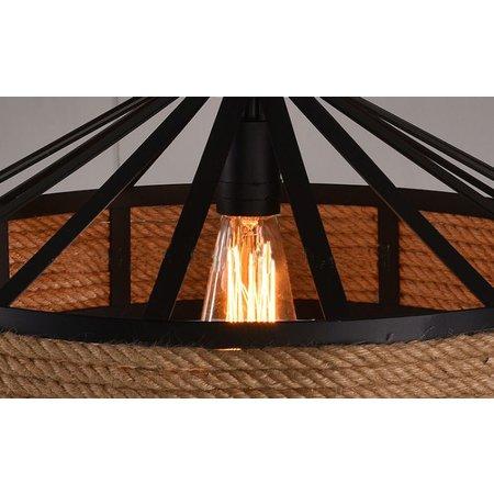 Luminaire suspendu vintage avec corde 43cm diamètre E27