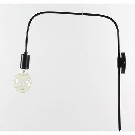Vintage wandlamp met zwarte staaf 56cm hoog