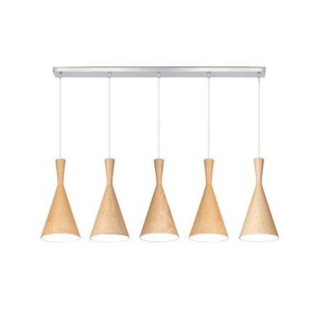 Pendant light dining room metal wood E27x5 1,1m