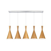 Pendant light dining room metal wood E27x5 1,1m