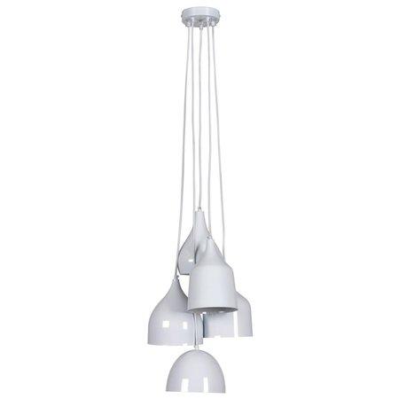 Vintage hanglamp wit, zwart diverse vormen E27x5 60cm