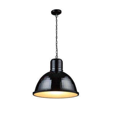 Lustre industriel noir, blanc, béton 53cm diamètre