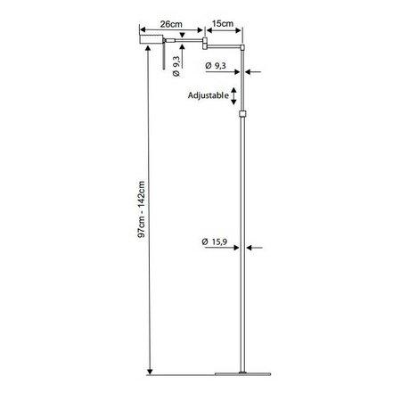 Lampadaire moderne orientable laiton, gris G9 142cm H