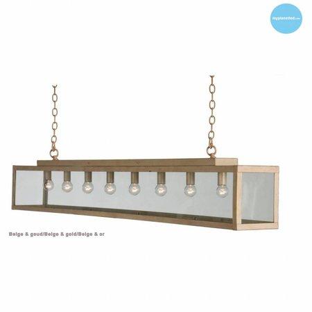 Hanglamp glas beige, wit, lood, taupe, goud landelijk 150cm