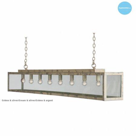 Lustre verre rustique blanc, beige, plomb, taupe, or 150cm