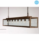 Glass pendant light rustic beige, white, lead, taupe, gold 150cm