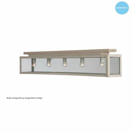 Plafonnier verre rustique blanc, beige, plomb, taupe, or 100cm