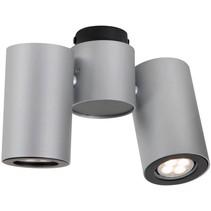 Plafonnier cylindrique blanc, gris orientable GU10x2