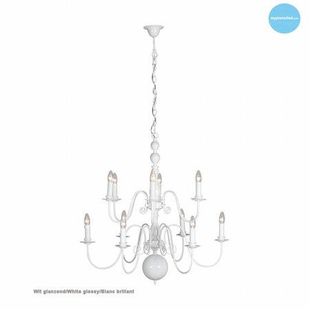 Hanglamp kroonluchter wit, zwart, grijs E14x12 85cm