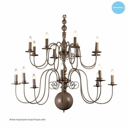 Grand lustre chandelier blanc, noir, gris E14x16 115cm