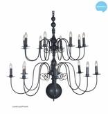 Grote hanglamp kroonluchter wit, zwart, grijs 115cm Ø