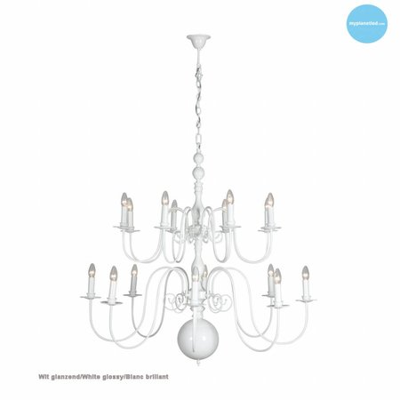 Big pendant light chandelier white, black, grey E14x16 115cm