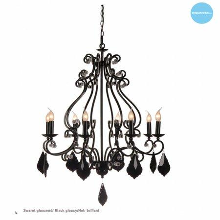 Hanglamp kroonluchter zwart, grijs, wit E14x8 82cm Ø